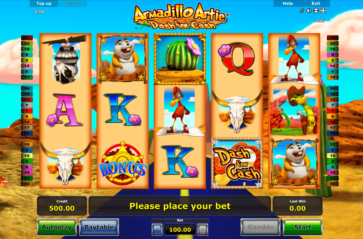 armadillo artie novomatic casinospil online