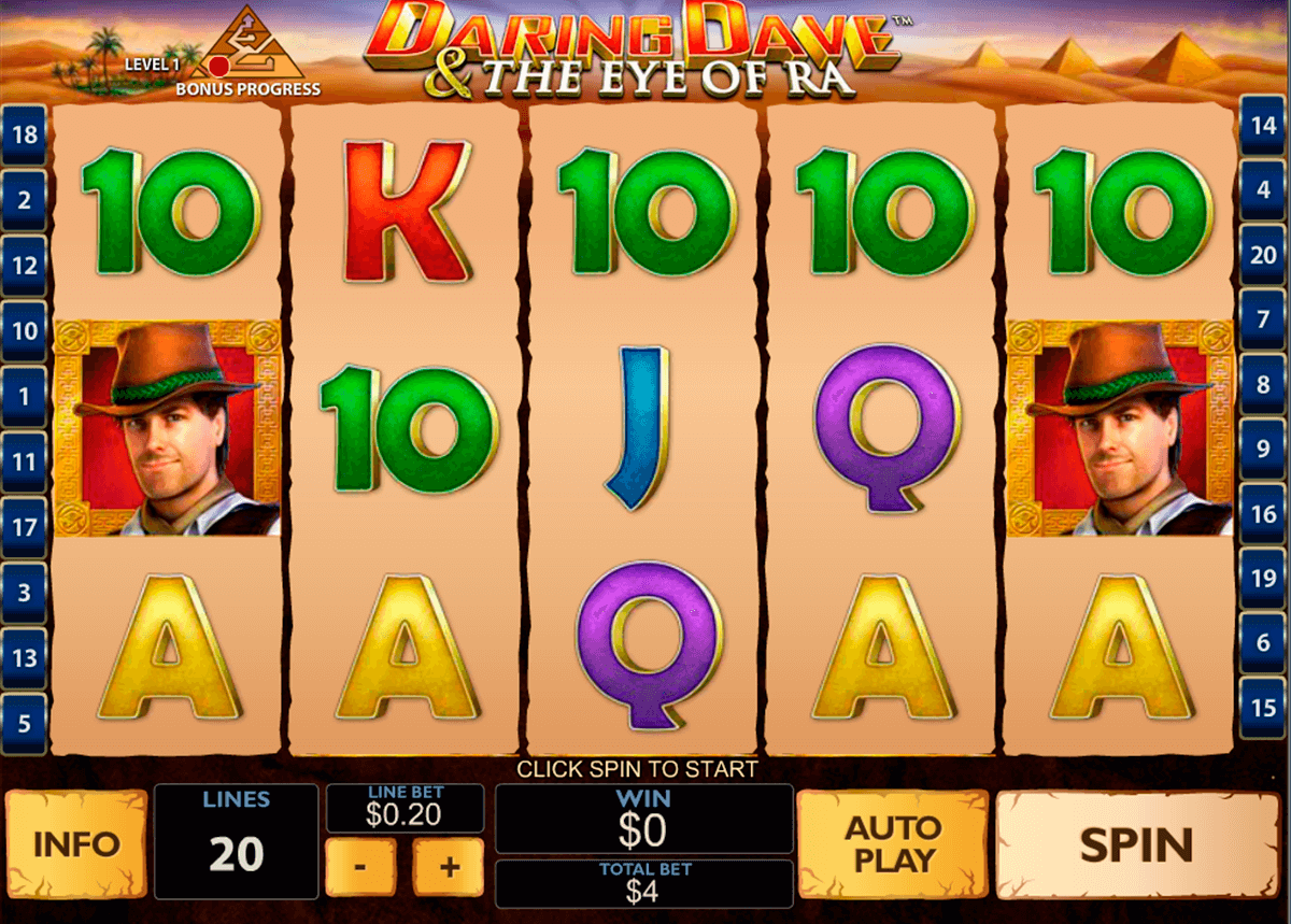 daring dave the eye of ra playtech casinospil online