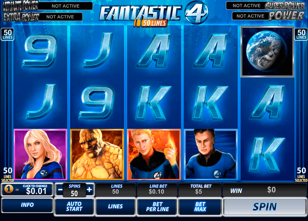 fantastic four 50 lines playtech casinospil online