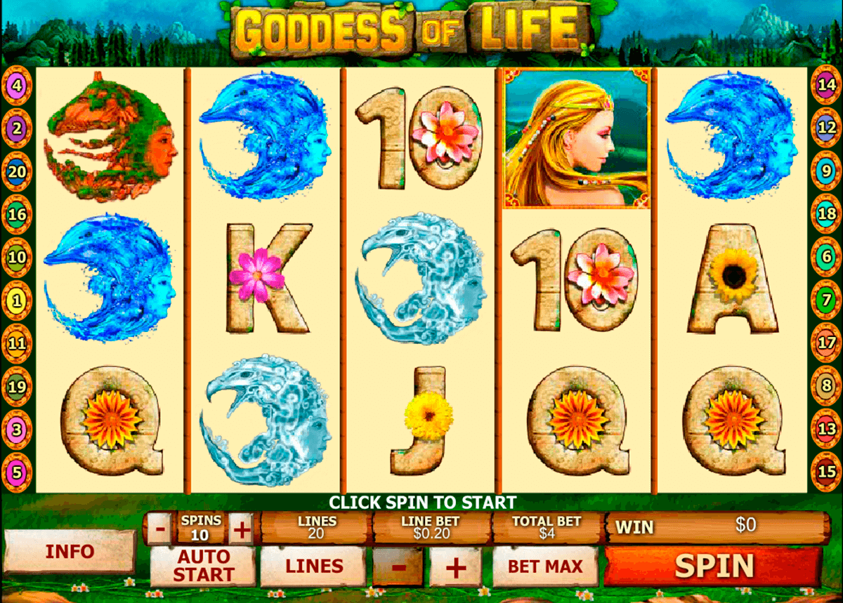 goddess of life playtech casinospil online