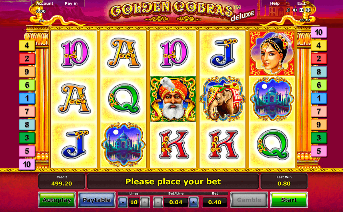 golden cobras deluxe novomatic casinospil online