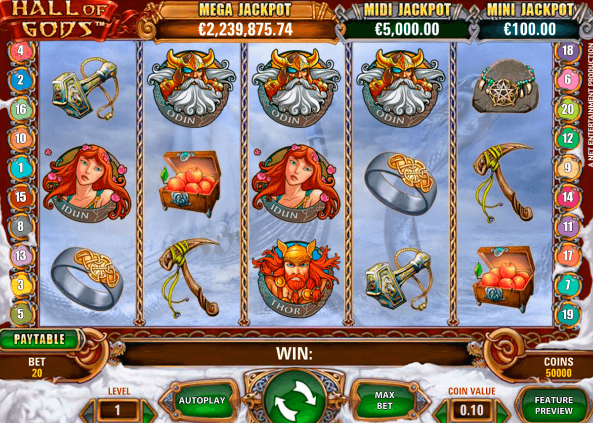 hall of gods netent casinospil online