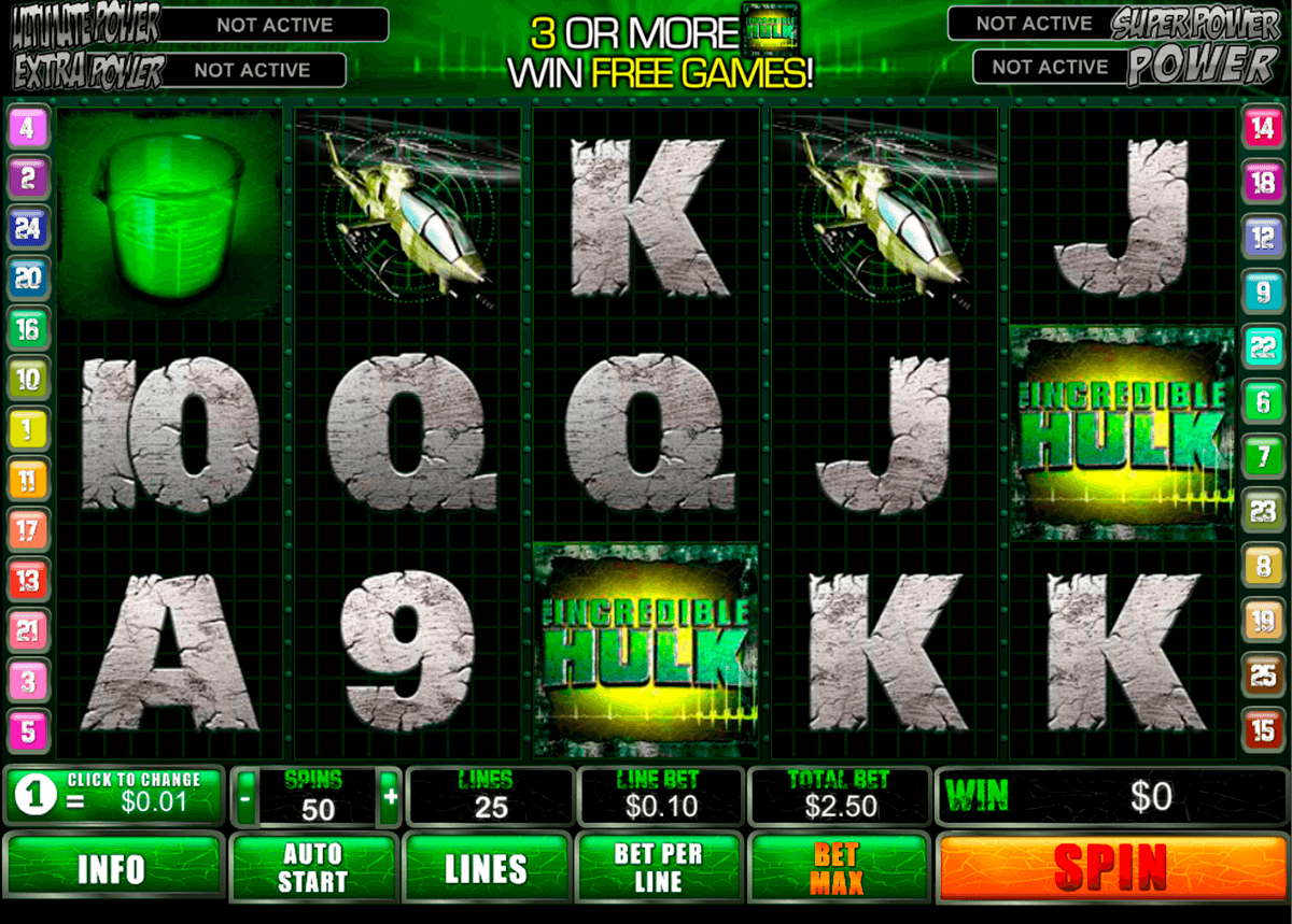 incredible hulk playtech casinospil online