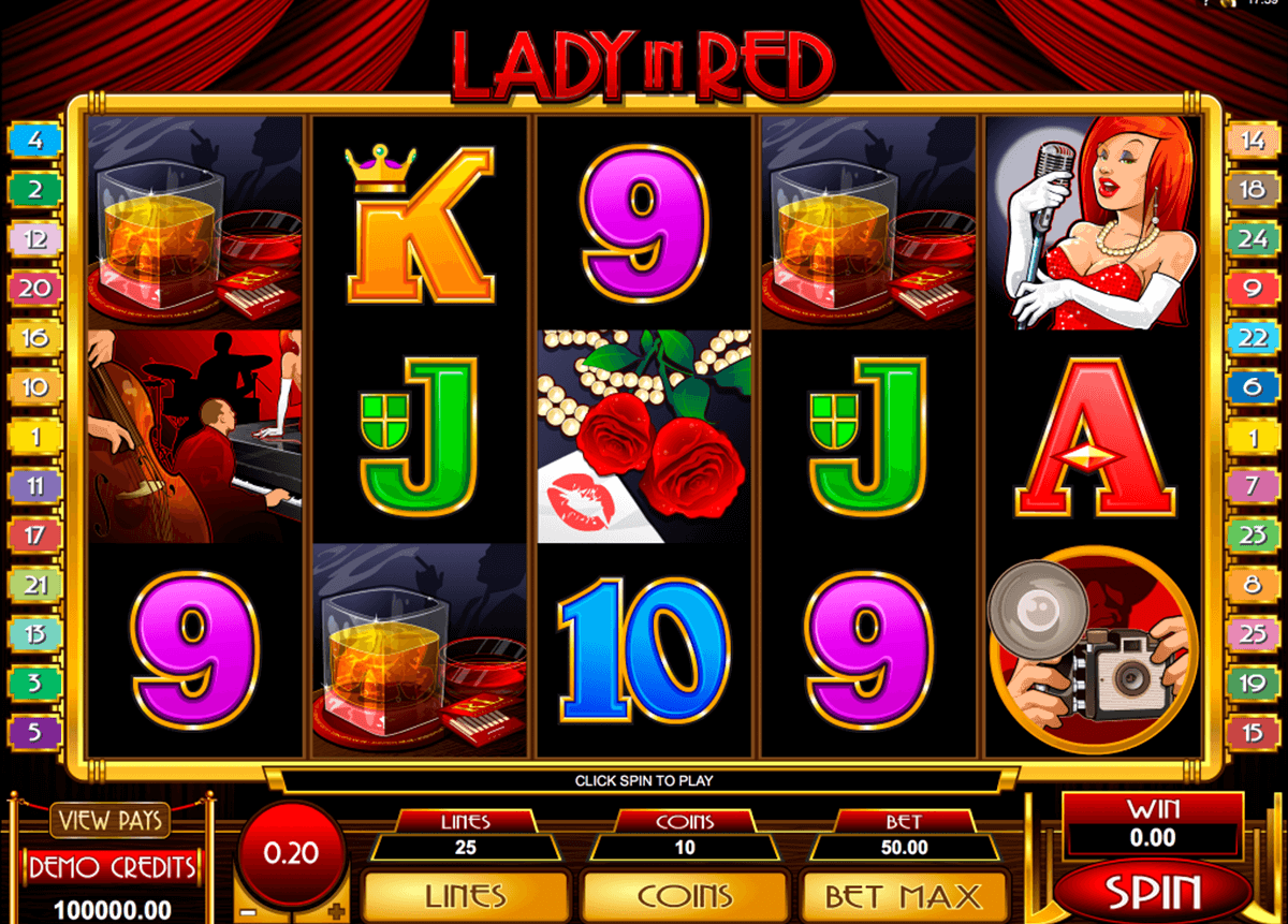 lady in red microgaming casinospil online