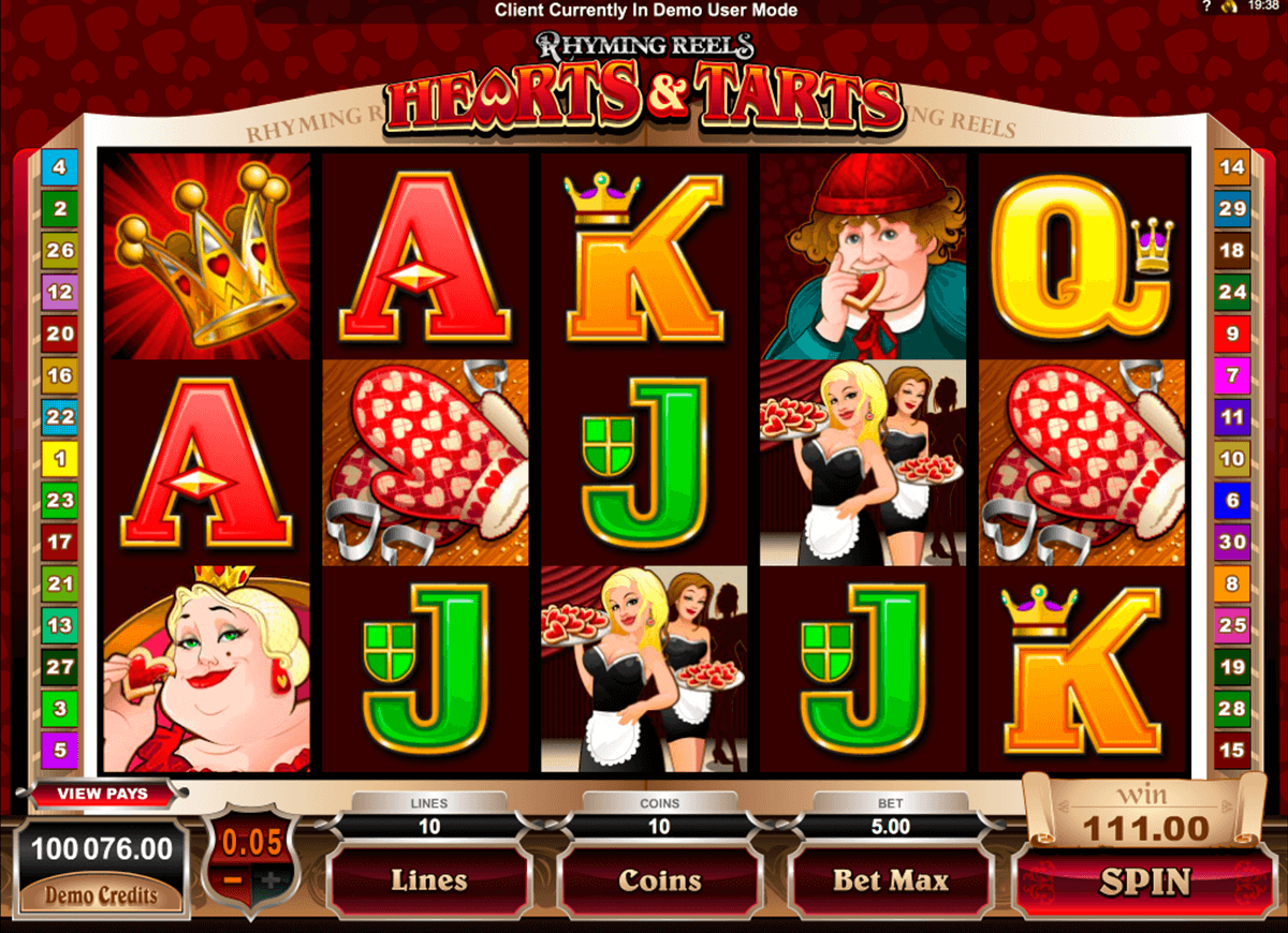 rhyming reels hearts and tarts microgaming casinospil online