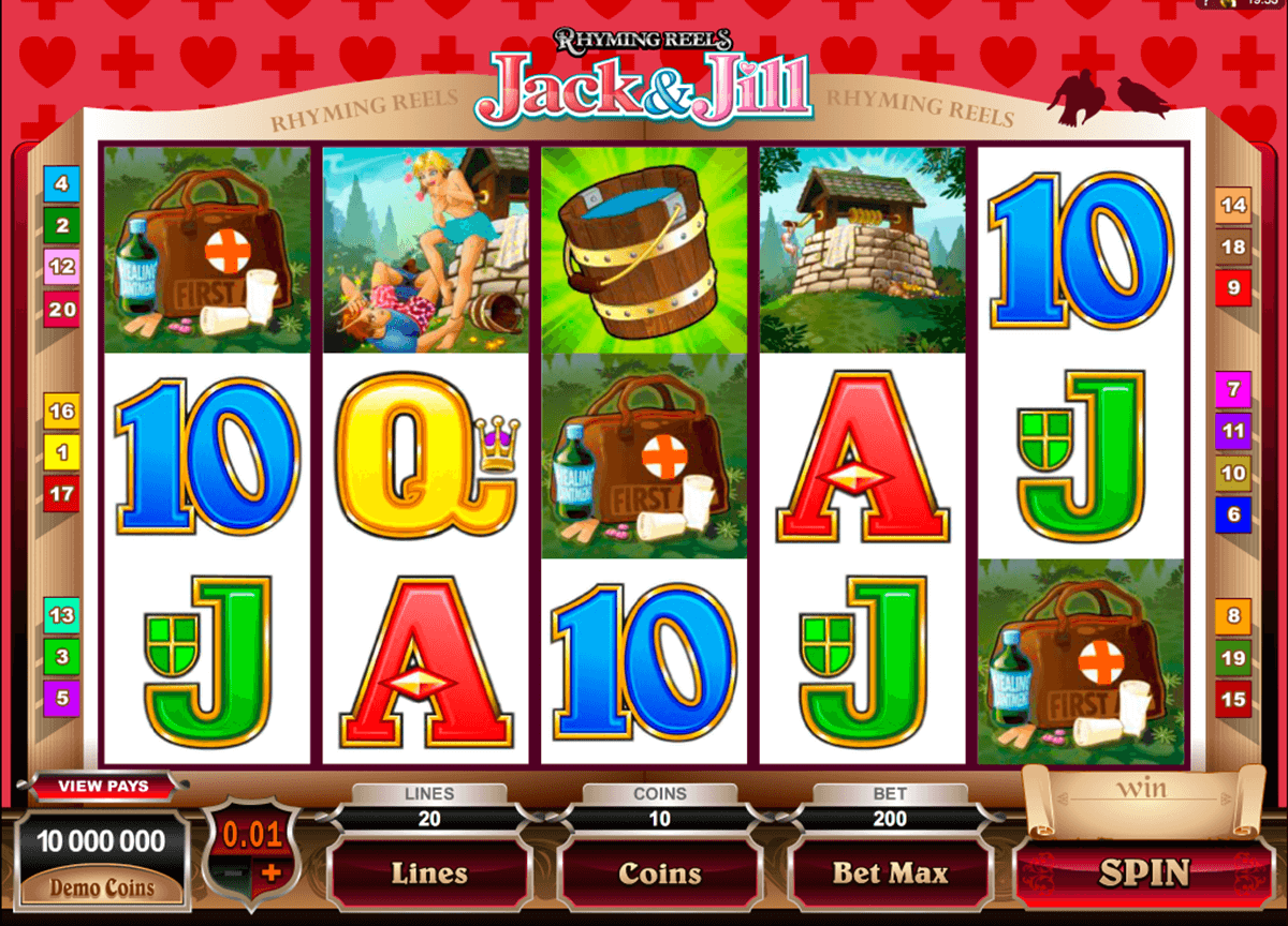 rhyming reels jack and jill microgaming casinospil online