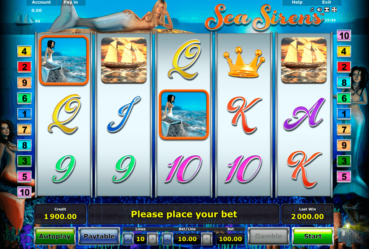 sea sirens novomatic casinospil online