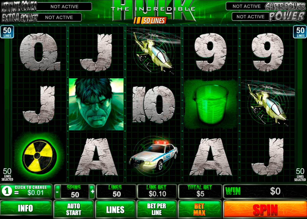 the incredible hulk 50 lines playtech casinospil online
