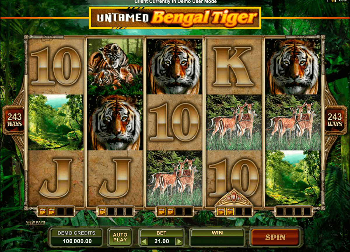 untamed bengal tiger microgaming casinospil online