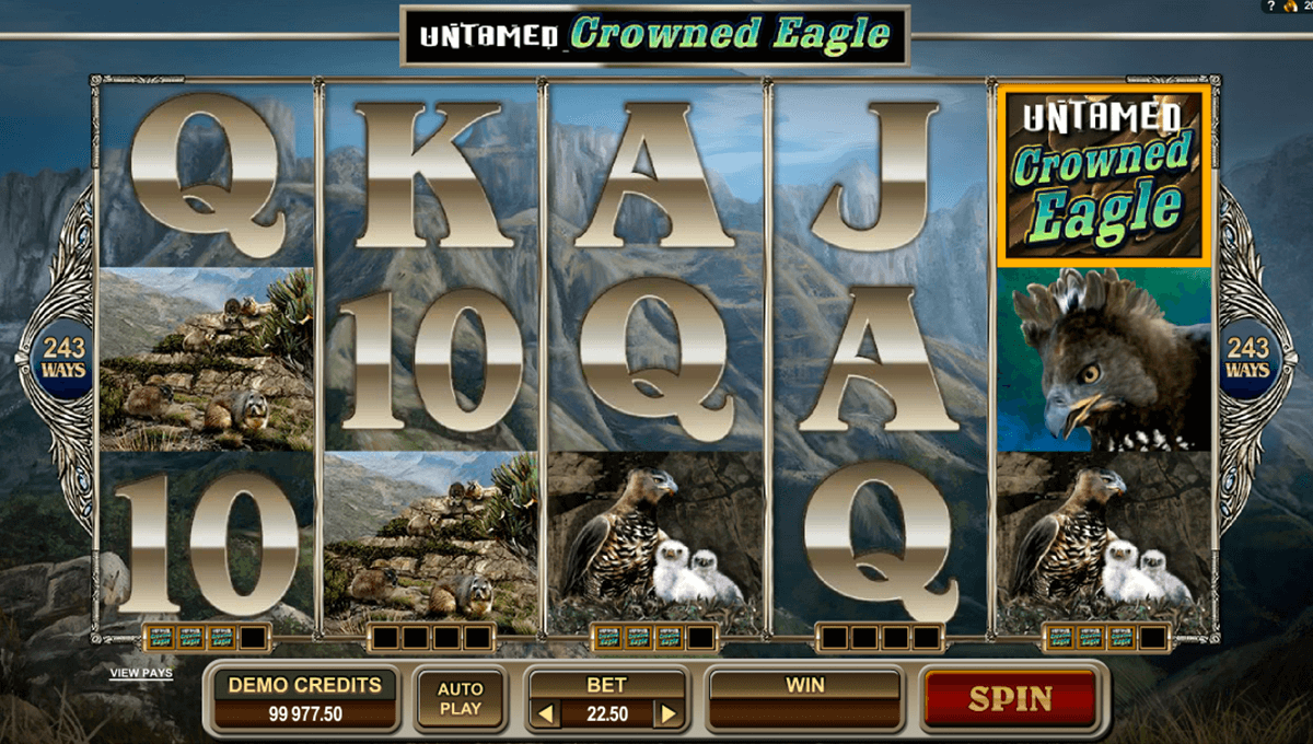 untamed crowned eagle microgaming casinospil online